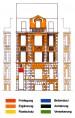 Kartierung orange der Restaurierungsarbeiten Wohnhaus Schwerinstraße